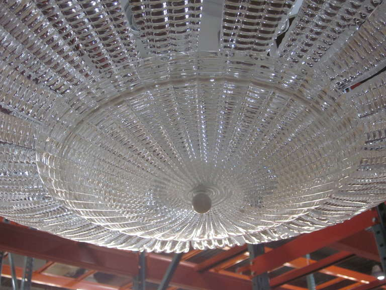 Large Italian Mid-Century Modern Murano Glass Chandelier, Carlo Scarpa, Venini In Excellent Condition For Sale In New York, NY