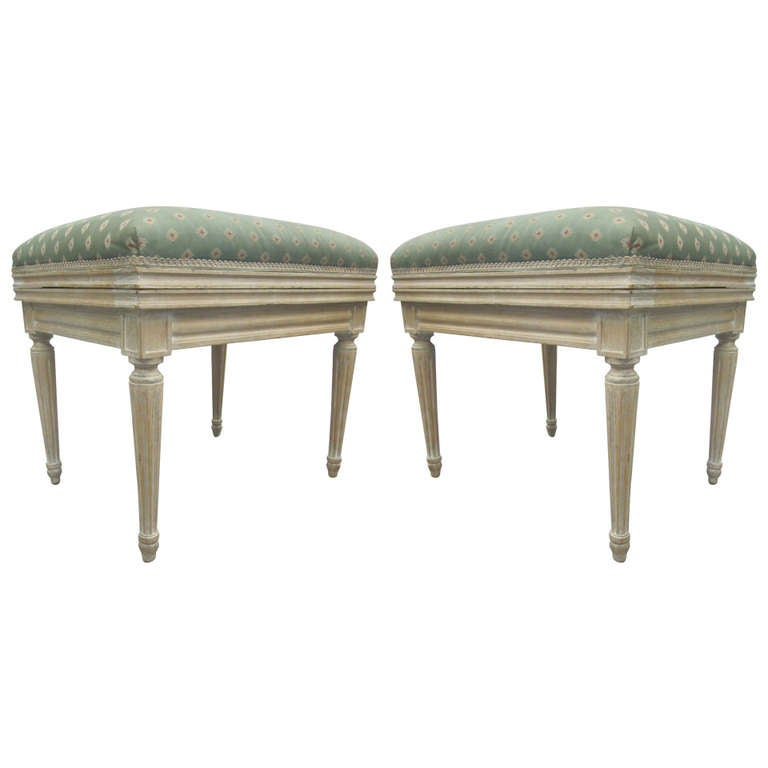 Pair of French Mid-Century Louis XVI Style Cerused Oak Benches /Stools, JM Frank