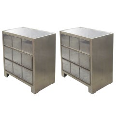 2 Silver Leaf Style Mirror Nightstands or Commodes