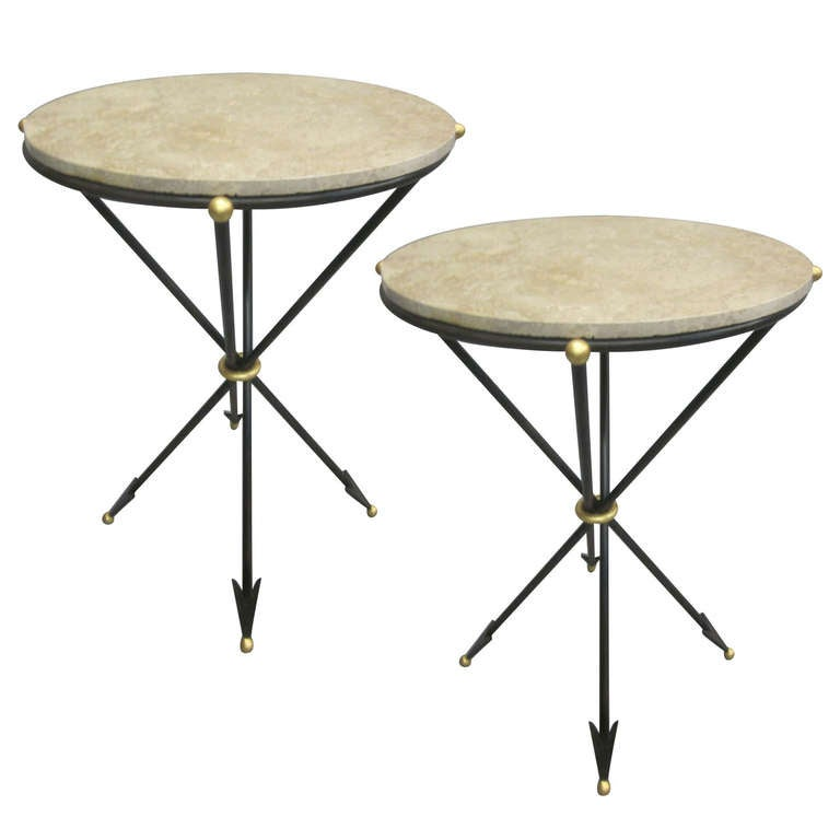 Pair of French 1940s Style Modern Neoclassical Side Tables For Sale