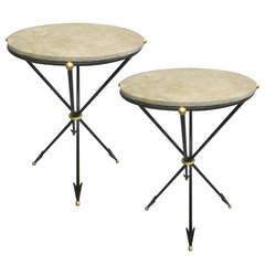 Pair of French 1940s Style Modern Neoclassical Side Tables