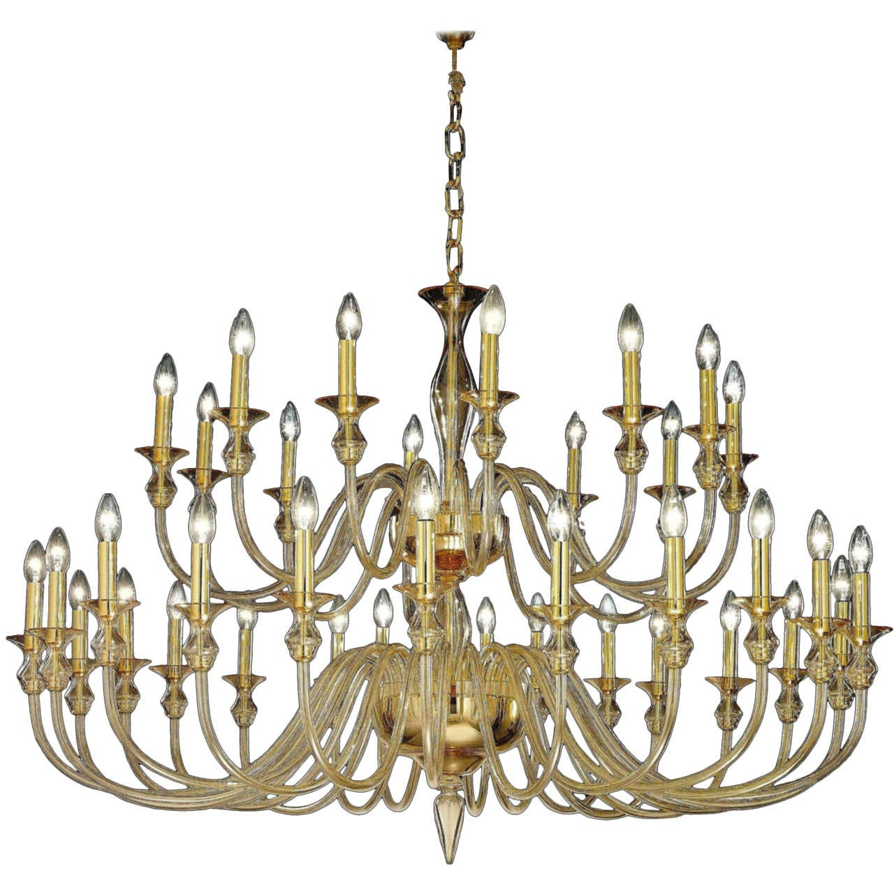 Large, 36 Arm, Clear Amber Murano /Venetian Glass Modern Neoclassical Chandelier For Sale