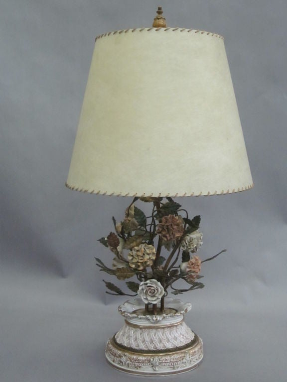 Pair of Hand Made Floral Table Lamps by Capodimonte, Italy, 1950 3