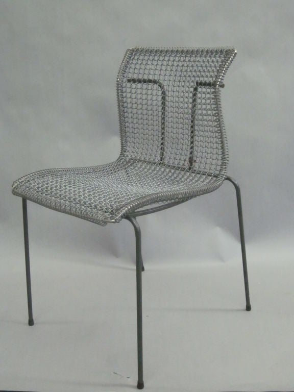 Original pre-production prototype of a wire mesh metal desk chair by Niall O'Flynn shown at the New York Furniture Fair in 1994 and later produced by t' Spectrum.