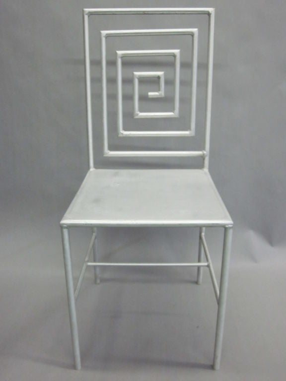Stunning late 20th century artist made desk / side chair in aluminum relying on abstraction and the grid form as means of defining space and transparency. The sculptural composition of the back emulates the hard-edged abstraction of painter Frank