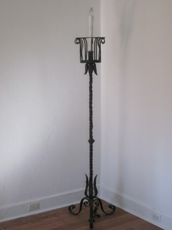 Rare Pair of Floor Lamps/Torchiere Attributed to Gilbert Poillerat 2