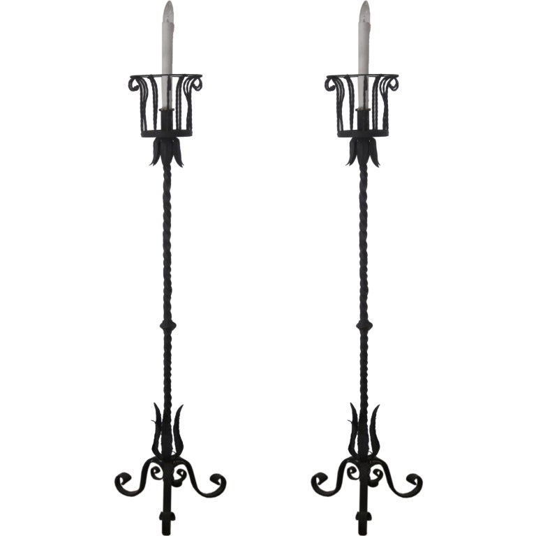 Pair of French Wrought Iron Floor Lamps / Torchieres Attr. to Gilbert Poillerat