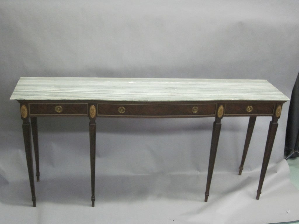 Large Italian Mid-Century Modern Neoclassical Wood & Marble Console, Paolo Buffa In Good Condition For Sale In New York, NY
