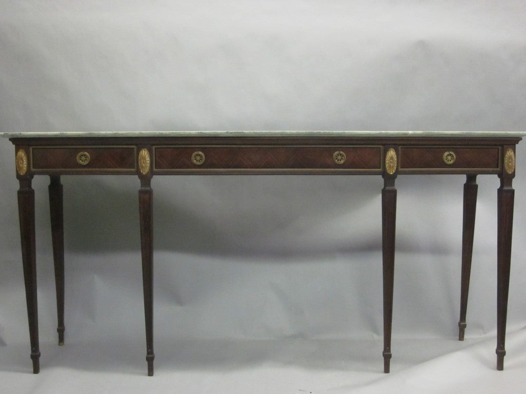 Mid-20th Century Large Italian Mid-Century Modern Neoclassical Wood & Marble Console, Paolo Buffa For Sale