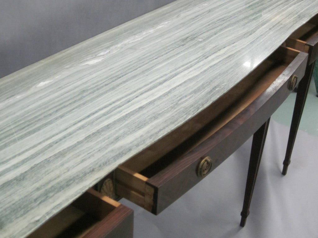 Large Italian Mid-Century Modern Neoclassical Wood & Marble Console, Paolo Buffa For Sale 1