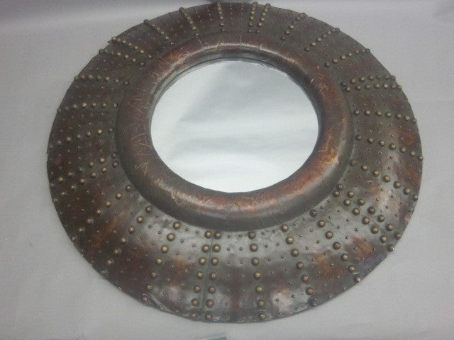 Large French Prunted Leather 'Sunburst' Mirror 2