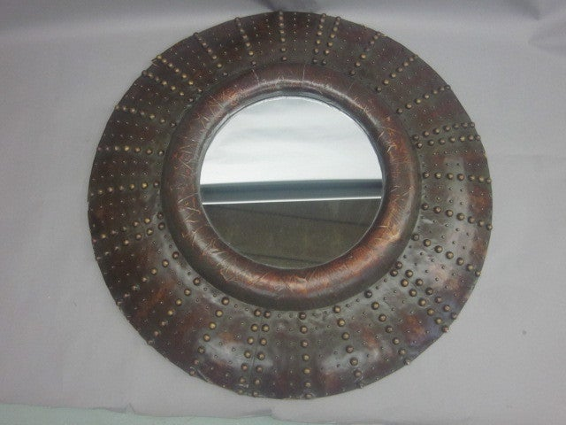 Large French Prunted Leather 'Sunburst' Mirror 4
