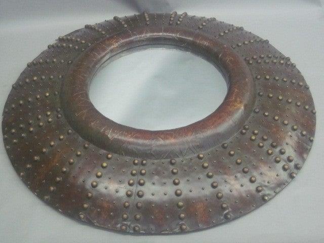 Large French Prunted Leather 'Sunburst' Mirror 5
