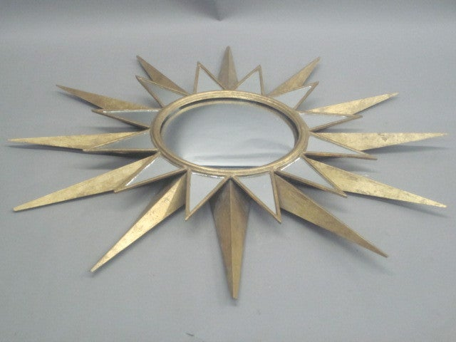 Two Large French, 1940s Style Gilt Iron and Mirrored Sunburst Mirrors 3