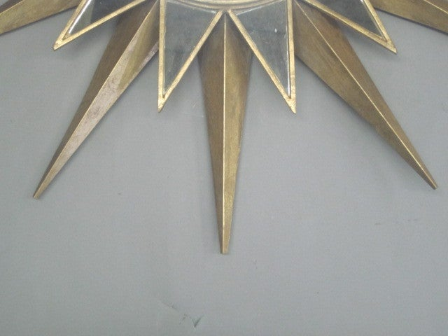 20th Century Two Large French Mid-Century Modern Style Gilt Iron & Mirrored Sunburst Mirrors For Sale