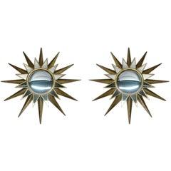 Two Large French Mid-Century Modern Style Gilt Iron & Mirrored Sunburst Mirrors