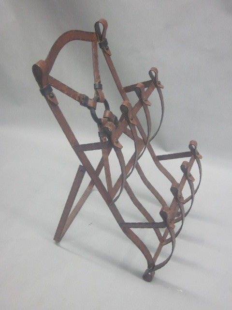 French Mid-Century Modern Faux Leather Magazine Stand Attributed to Hermès 3
