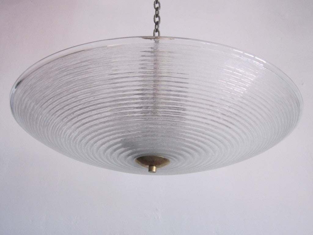 Italian Mid-Century Modern Murano / Venetian Glass Chandelier or Flush Mount In Excellent Condition For Sale In New York, NY