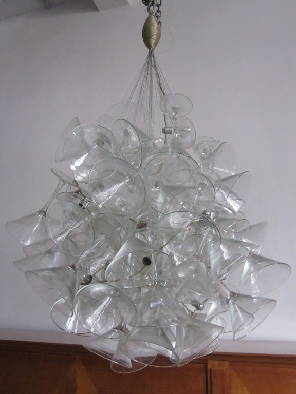 "Hand Made Martini Glass Chandelier by Touch ""Chandelini"".  7"