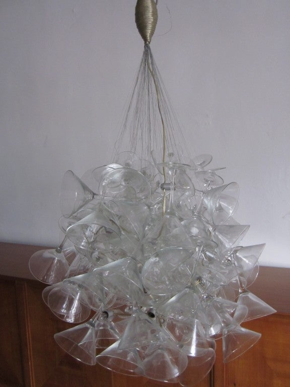 "Hand Made Martini Glass Chandelier by Touch ""Chandelini"".  8"