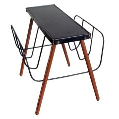 French Mid-Century Hand-Stitched Leather Magazine Stand / Bench by Jacques Adnet