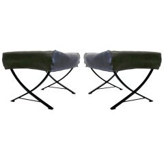 Pair of Italian Mid-Century Modern Steel & Fabric Benches / Stools by Forma Nova