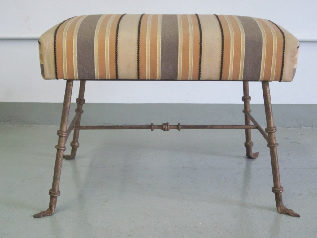 Mid-Century Modern Pair of French, 1940s Gilt Iron Benches/Stools Attributed to Marc Duplantier For Sale