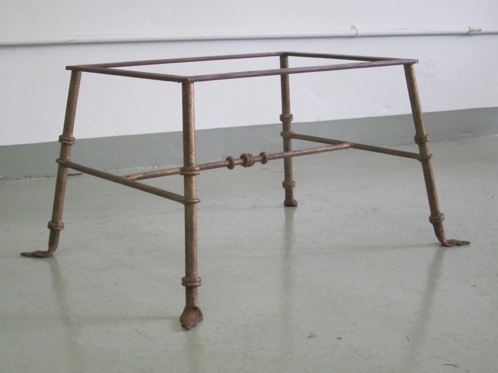 Mid-20th Century Pair of French, 1940s Gilt Iron Benches/Stools Attributed to Marc Duplantier For Sale