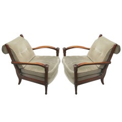 Pair French Mid-Century Modern Neoclassical Lounge Chairs Attr. to Andre Arbu