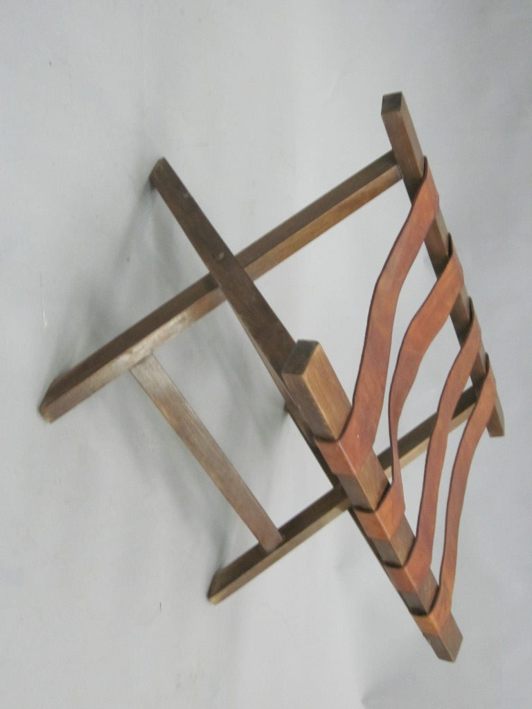 French 40 39 S Leather Strap Bench Luggage Rack At 1stdibs