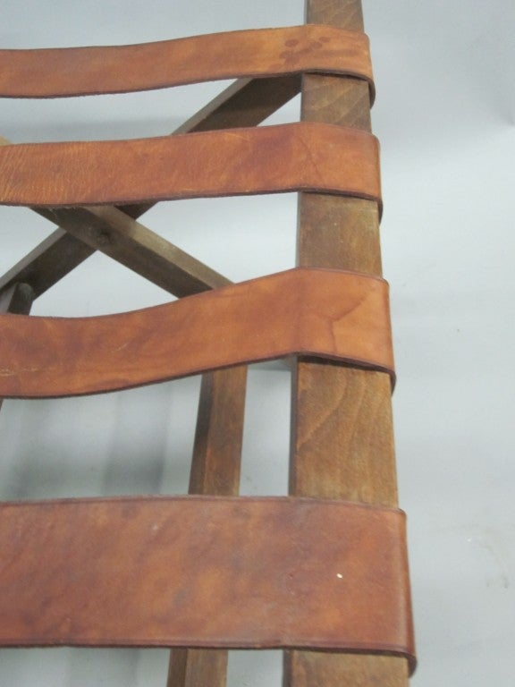 French 40 S Leather Strap Bench Luggage Rack At 1stdibs