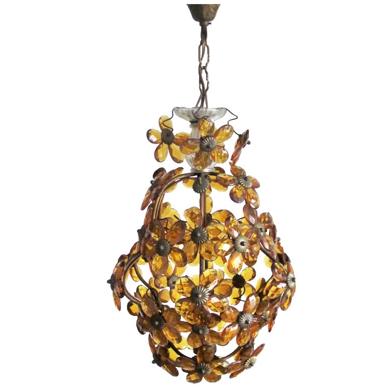 French Mid-Century Cut Amber Crystal Floral Pendant /Chandelier,  Maison Baguès
