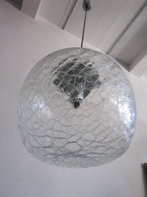 Italian Midcentury Venetian or Murano 'Ice Glass' Pendant or Chandelier, Venini In Excellent Condition For Sale In New York, NY