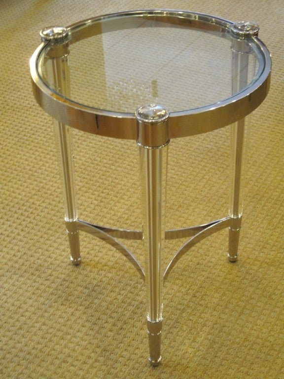 Two Extraordinary Solid Crystal and Nickel Side Tables in Style of Fontana Arte 2