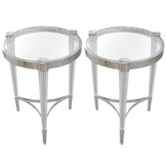 2 Italian Mid-Century Modern Style Solid Crystal & Nickel Side Tables, Baccarat
