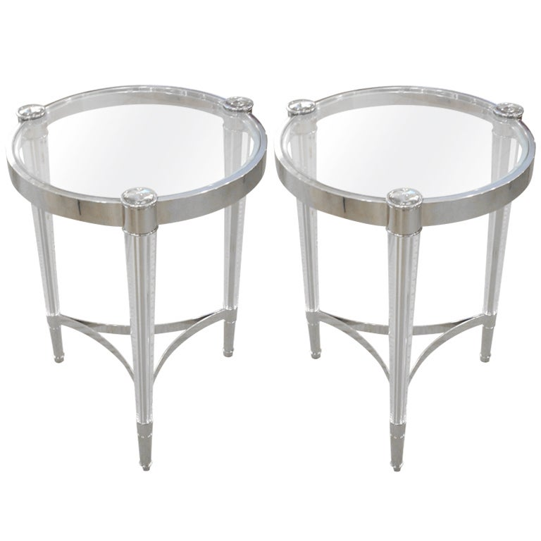2 Italian Mid-Century Modern Style Solid Crystal & Nickel Side Tables, Baccarat For Sale