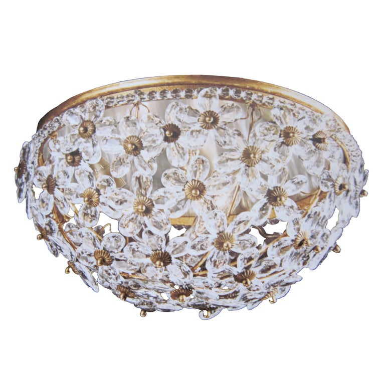 Two Italian Mid-Century Style Solid Crystal Floral Ceiling Flush Mount Fixtures For Sale