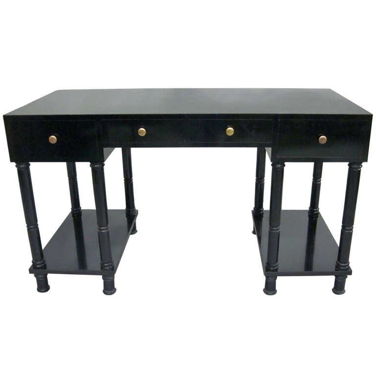 French Mid Century Modern Neoclassical Black Lacquer Desk By Maison Jansen