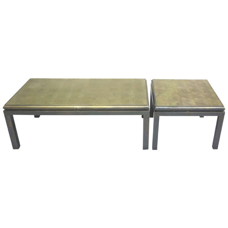 Set of 2 French Gilt 'Verre Églomisé' Coffee Tables by Guy Lefevre for Jansen For Sale