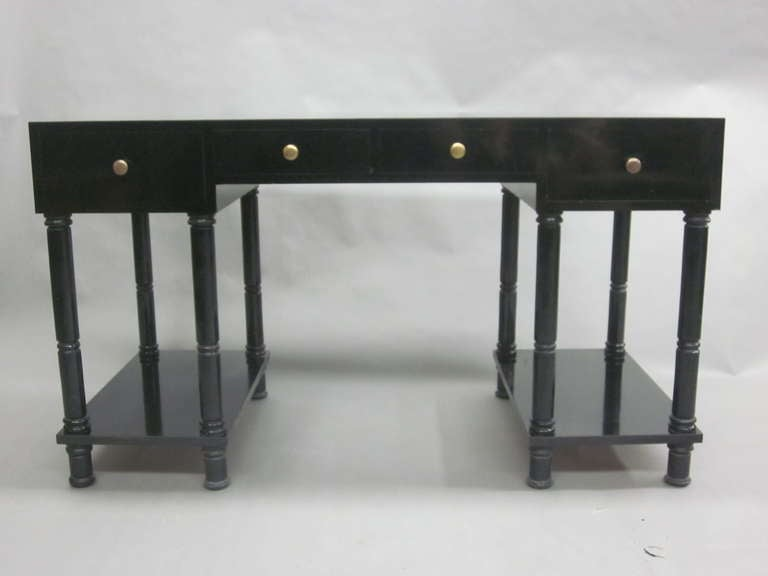 French Mid-Century Modern Neoclassical Black Lacquer Desk by Maison Jansen In Good Condition For Sale In New York, NY