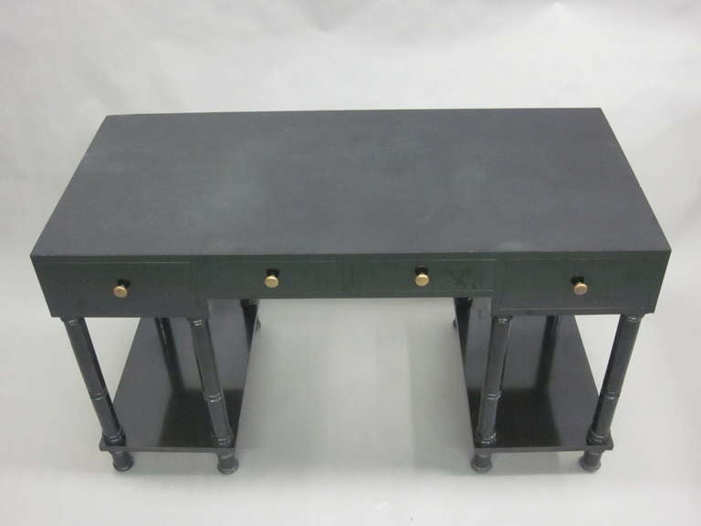 20th Century French Mid-Century Modern Neoclassical Black Lacquer Desk by Maison Jansen For Sale
