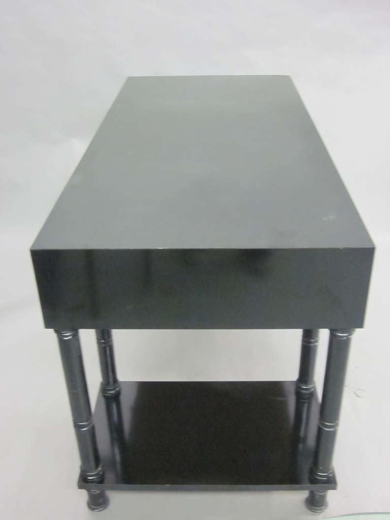French Mid-Century Modern Neoclassical Black Lacquer Desk by Maison Jansen For Sale 1