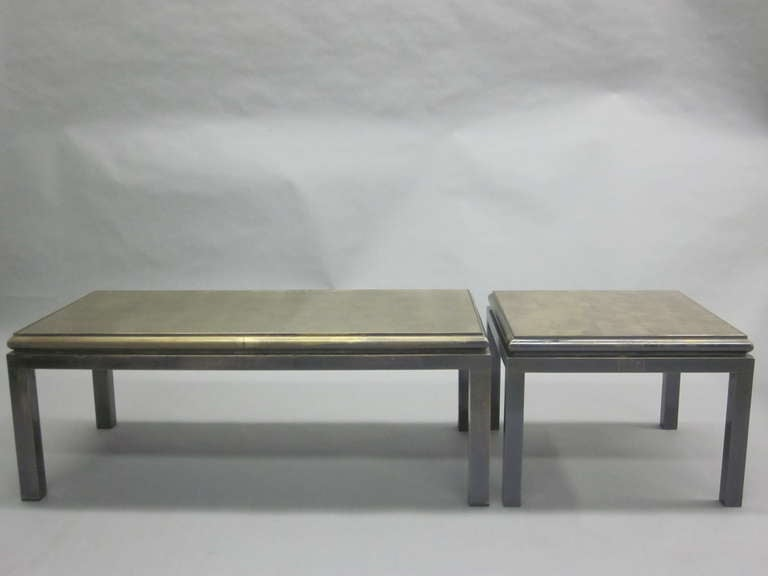 Set of 2 French Gilt 'Verre Églomisé' Coffee Tables by Guy Lefevre for Jansen In Good Condition For Sale In New York, NY