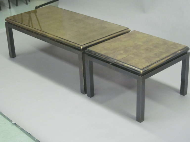 Late 20th Century Set of 2 French Gilt 'Verre Églomisé' Coffee Tables by Guy Lefevre for Jansen For Sale