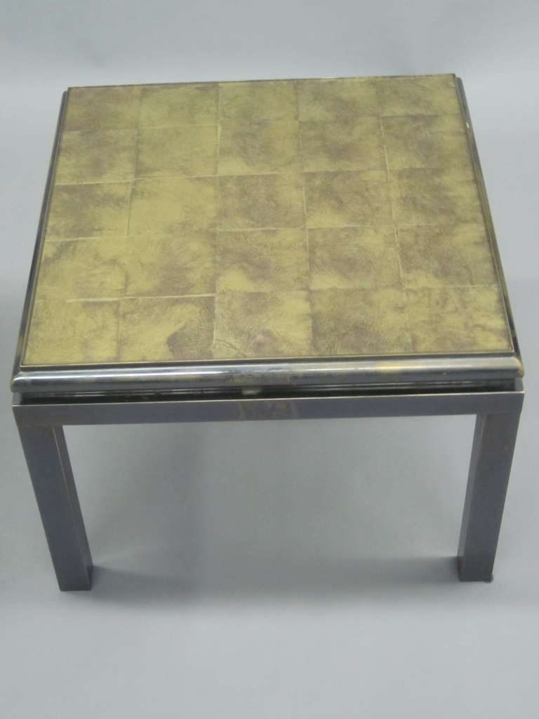 Set of 2 French Gilt 'Verre Églomisé' Coffee Tables by Guy Lefevre for Jansen For Sale 4