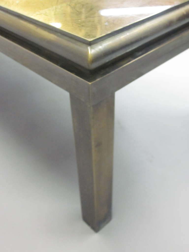 Set of 2 French Gilt 'Verre Églomisé' Coffee Tables by Guy Lefevre for Jansen For Sale 2