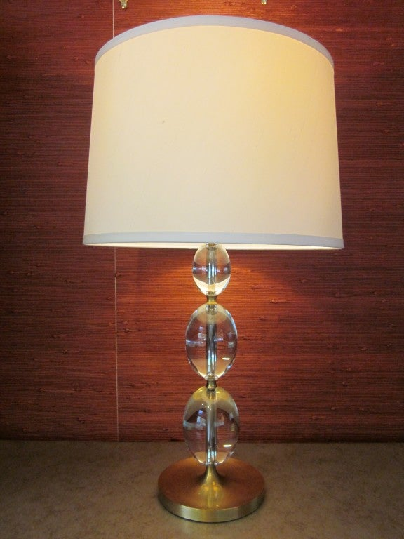 2 Pairs of Italian Mid-Century Modern Style Brass and Crystal Sphere Table Lamps For Sale 1