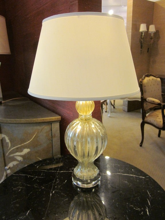 Italian Pair of Murano / Venetian Glass Table Lamps Attributed to Barovier e Toso For Sale