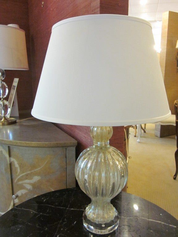 Mid-Century Modern Pair of Murano / Venetian Glass Table Lamps Attributed to Barovier e Toso For Sale