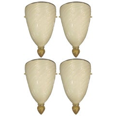 Four Murano Glass Sconces Attributed to Barovier e Toso